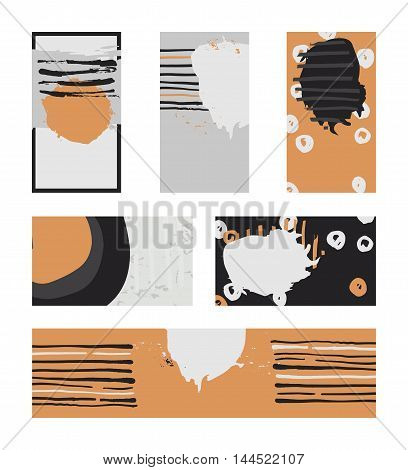 Vector collection of contrast colored business vertical and horizontal cards and banner hand drawn with liquid ink and brush with splashes stripes and imperfections. Grey black and orange colors.