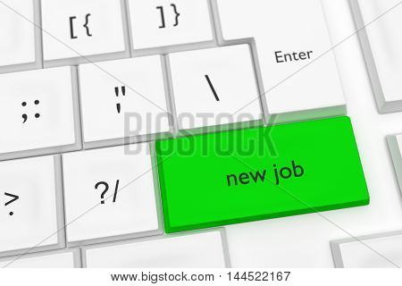 Computer Keyboard With The Words New Job On A Green Key As A Hot Button 3d illustration