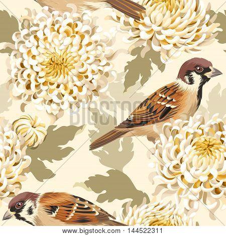Japanese chrysanthemum and birds vector seamless background