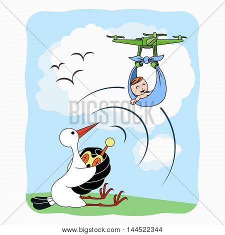 Stork delivering baby with qadrcopter at midday