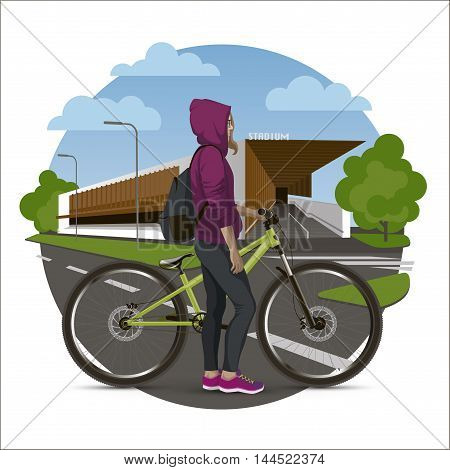 The girl on the mtb bike background to the stadium. Conceptual vector illustration.