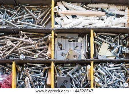 Top View Of Screws Box And Anchors Box