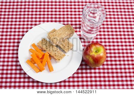 Healthy lunch A healthy child's snack lunch of sandwiches and fruit