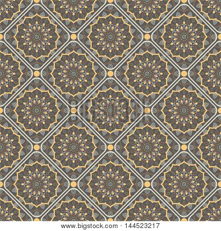 Seamless mandala pattern. Vintage elements in oriental style. Texture for wallpapers backgrounds and page fill or printing on fabric or paper. Islam arabic indian turkishottoman motifs. Vector.