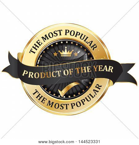Most popular product of the year - elegant golden black business ribbon / icon