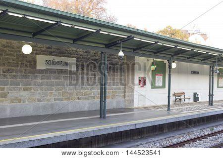 Subway Station Platform Of Schonbrunn - Wien - Austria