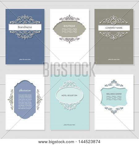 Templates set. Brochures cards and banners for beauty or wedding design.