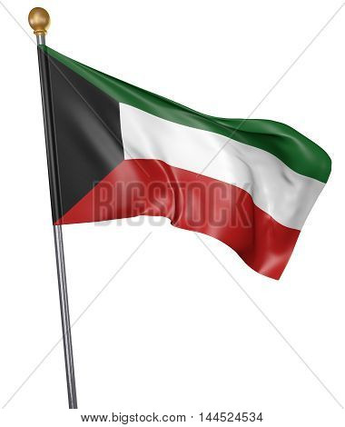 National flag for country of Kuwait isolated on white background, 3D rendering
