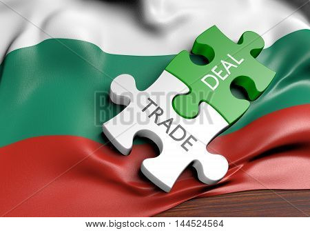 Bulgaria trade deals and international commerce concept, 3D rendering