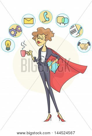 Successful business woman with superhero cloak and coffee in her hand, multitasking business icons above her head.