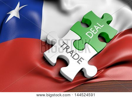 Chile trade deals and international commerce concept, 3D rendering