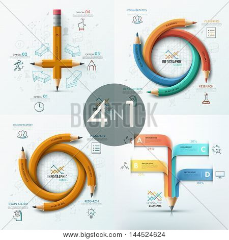 Set of 4 modern infographics options banner with abstract curved pencils and icons. Vector. Can be used for web design and  workflow layout