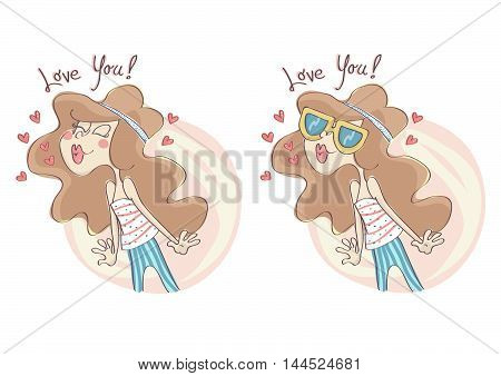 Cute, stylish fashion girl in kissing pose, set of two different version.