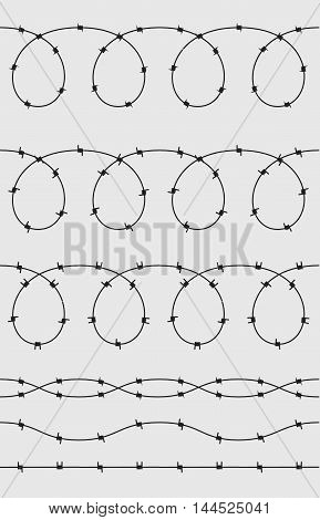 Wire barb vector fence seamless background illustration isolated on white. Protection concept design. Flat vector stock illustration.
