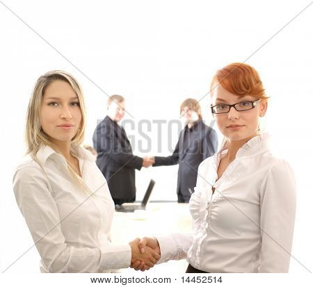 Business picture illustrating female handshake in front and male handshake behind