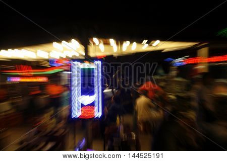 Abstract background of city and building in the night. moving camera zoom shot. horizontal