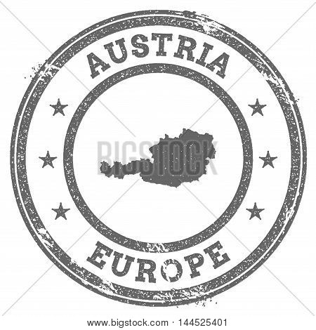 Austria Grunge Rubber Stamp Map And Text. Round Textured Country Stamp With Map Outline. Vector Illu