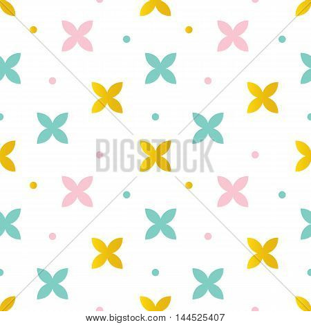 Cute pink, mint green and gold abstract floral seamless pattern background.