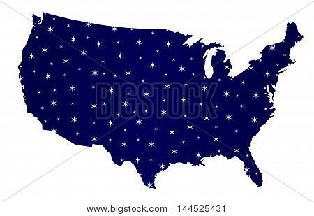A stary silhouette map of The United States of America over a white background