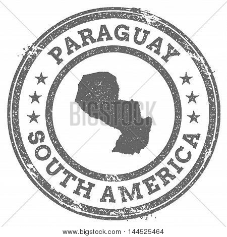 Paraguay Grunge Rubber Stamp Map And Text. Round Textured Country Stamp With Map Outline. Vector Ill