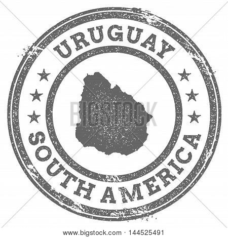 Uruguay Grunge Rubber Stamp Map And Text. Round Textured Country Stamp With Map Outline. Vector Illu