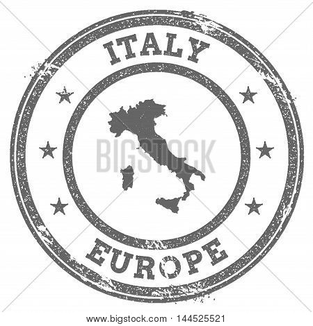 Italy Grunge Rubber Stamp Map And Text. Round Textured Country Stamp With Map Outline. Vector Illust