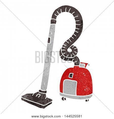 freehand retro cartoon vacuum cleaner