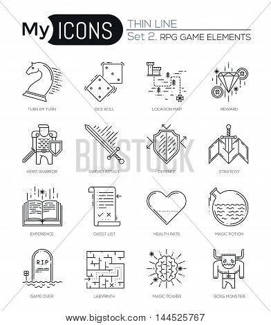 Modern thin line icons set of classic game objects, mobile gaming elements. Premium quality outline symbol collection. Simple mono linear pictogram pack. Stroke vector logo concept for web graphics.