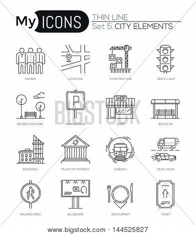 Modern thin line icons set of city elements. Premium quality outline symbol collection. Simple mono linear pictogram pack. Stroke vector logo concept for web graphic