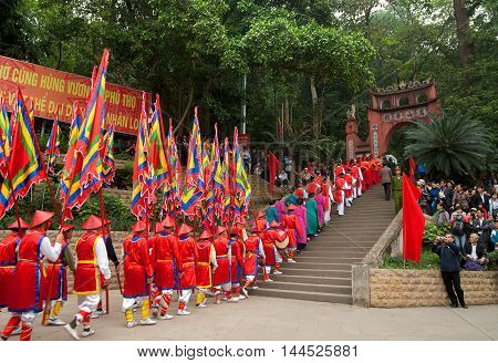 PHU THO, Vietnam, March 21, 2016: Ceremonial parade. Hung Temple, Phu Tho, intangible heritage of humanity