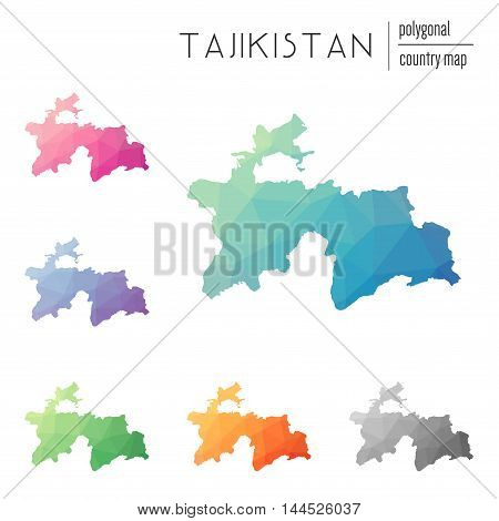 Set Of Vector Polygonal Tajikistan Maps. Bright Gradient Map Of Country In Low Poly Style. Multicolo