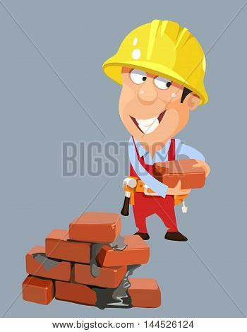 cartoon builder worker man in a helmet with bricks