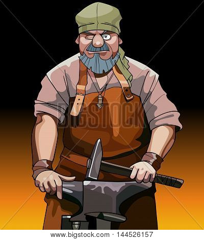 cartoon male blacksmith worker with hammer is at the anvil