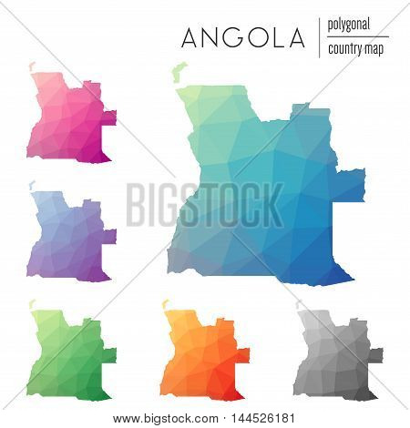 Set Of Vector Polygonal Angola Maps. Bright Gradient Map Of Country In Low Poly Style. Multicolored
