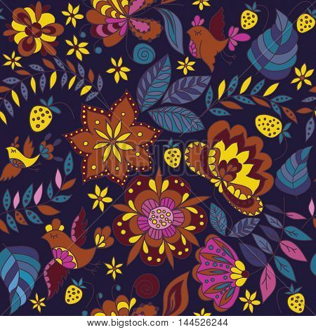 Flower and Birds Seamless Decorative Pattern. Abstract  Fashion Ornament for Fabric and Wrapping Paper.