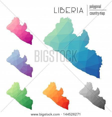 Set Of Vector Polygonal Liberia Maps. Bright Gradient Map Of Country In Low Poly Style. Multicolored