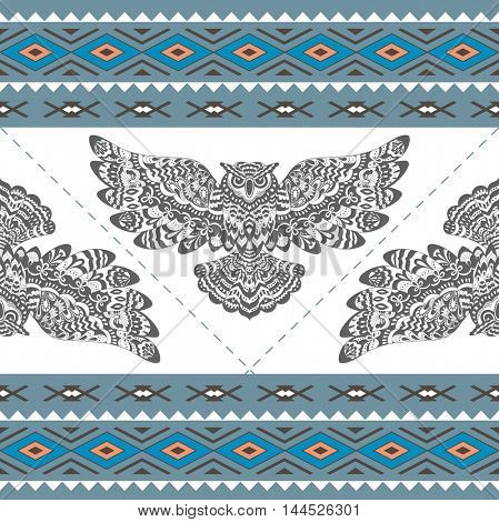 Abstract Seamless Pattern with Owl. Ethnic Geometric Ornament. Background for Fabric, Wallpaper and Border.