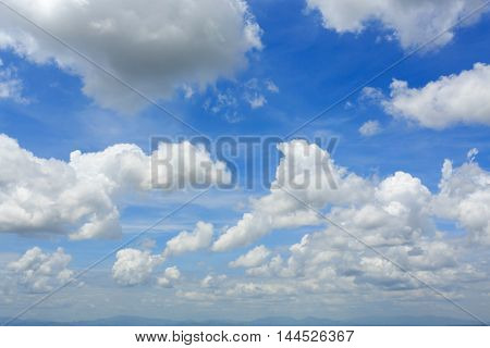 White Fluffy Cloudy Above Summer Sky Background