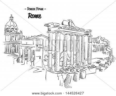 Rome Roman Forum Sketch Famous Landmark