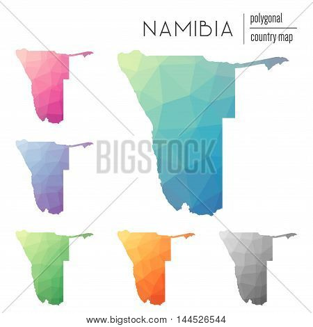 Set Of Vector Polygonal Namibia Maps. Bright Gradient Map Of Country In Low Poly Style. Multicolored