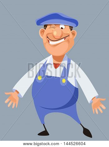 funny cartoon male worker in blue overalls and cap