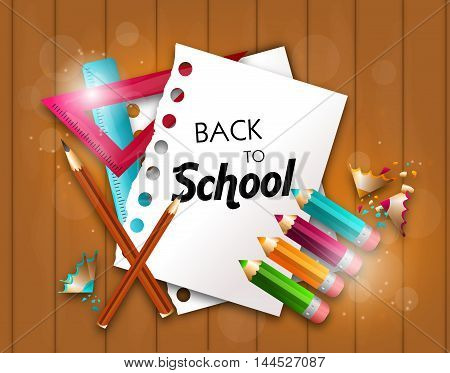 Illustration of back to school background with papers and pencils