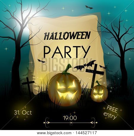 Invitation to halloween parky with pumpkins illustration