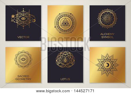 Set of Sacred Geometry Minimal Geometric Shapes. Black and Gold Color Trendy Hipster Icons and Logo, Alchemy Symbol, Occult and Mystic Sign.