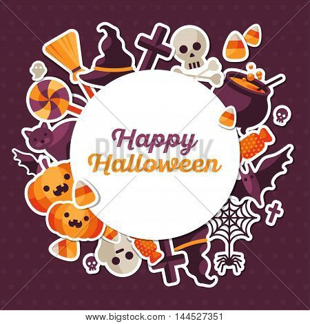 Halloween Concept Banner with Circle Frame and Stickers on Dark Violet Backdrop. Vector Flat Illustration. Place for your Text. Trick or Treat.