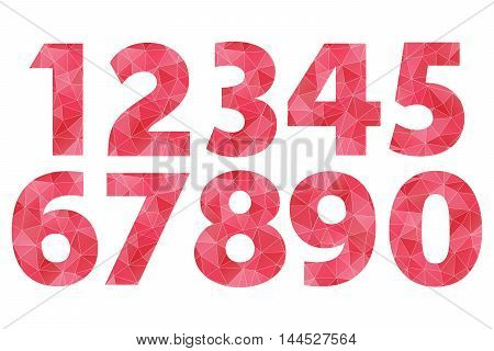 Poly vector red gradient numbers 1 2 3 4 5 6 7 8 9 0