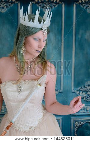 portrait of snow queen with eyes closed
