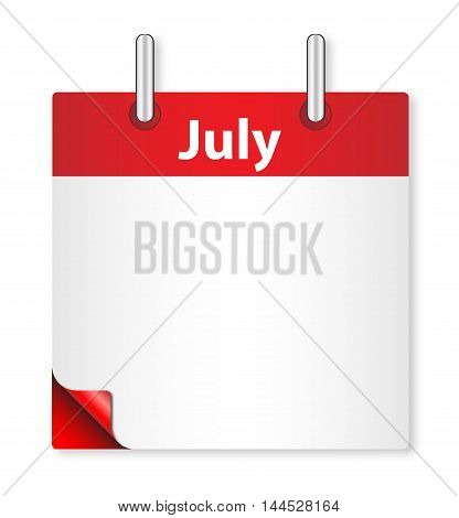 A calender date offering a blank July page over white