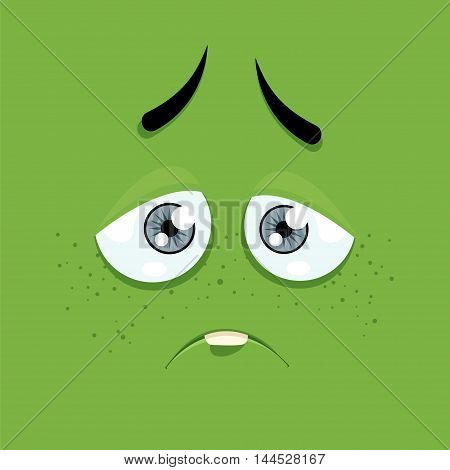 Cartoon face with a sad expression on a green background.