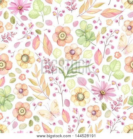 Seamless rustic pattern with flowers, butterflies, leaves and branches. Vector floral illustration in vintage style on white background.
